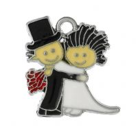 "5  Bride And Groom Enamel Charms 24mm x23mm(1"" x 7/8"")"
